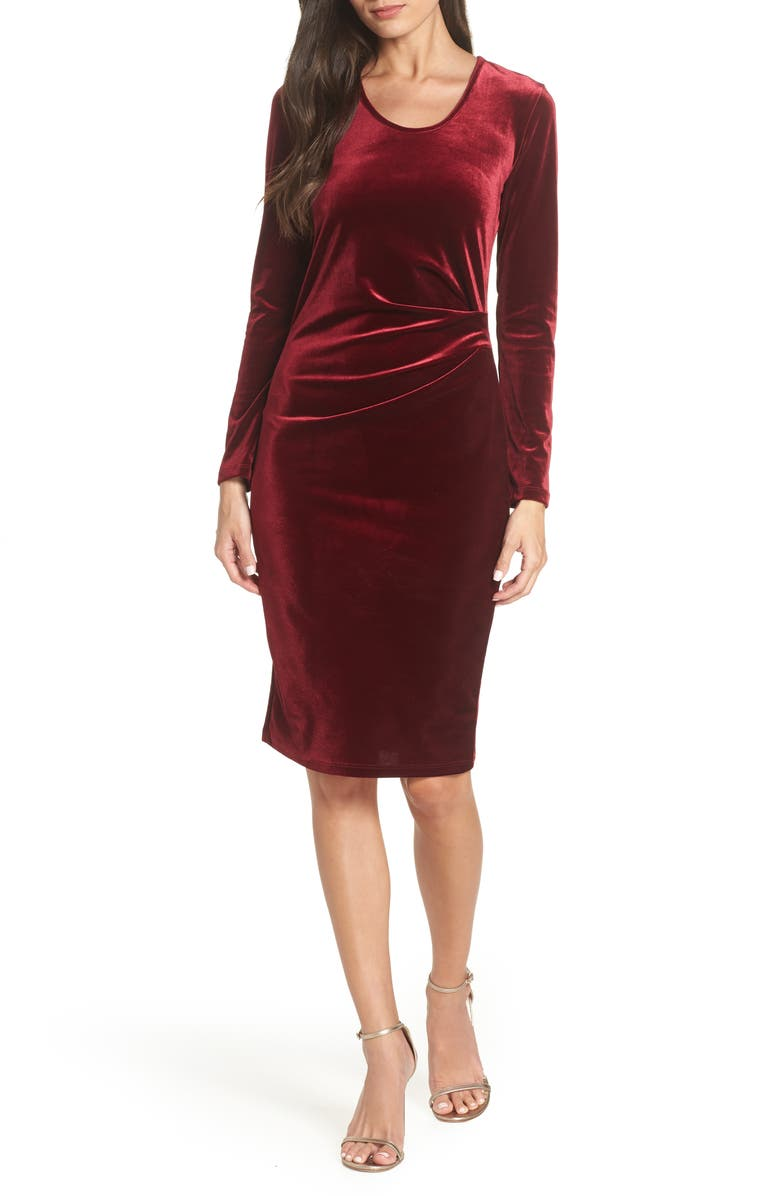 FRAICHE BY J Ruched Velvet Body-Con Dress, Main, color, WINE