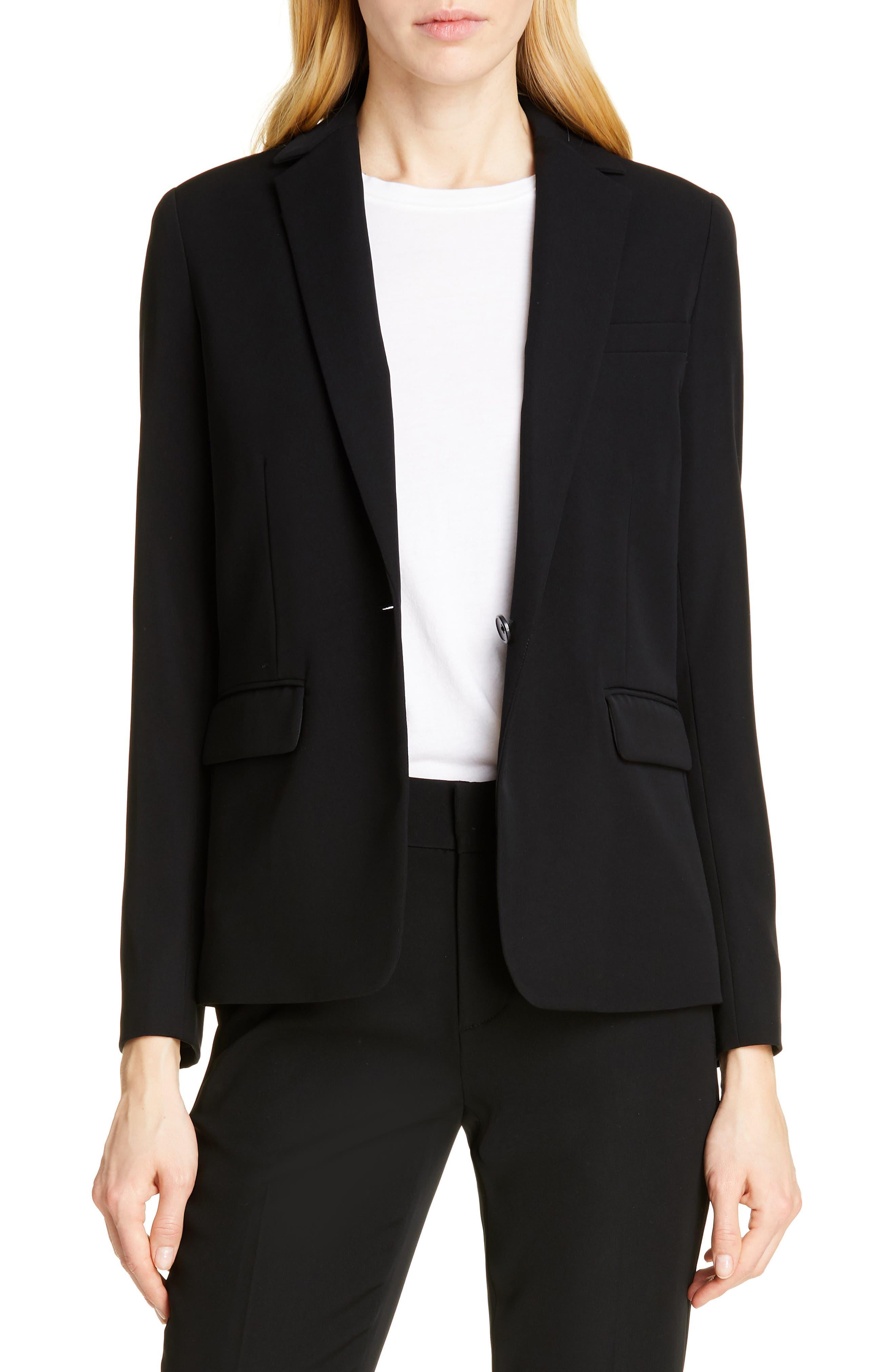 ,                             Single Button Blazer,                             Main thumbnail 1, color,                             BLACK