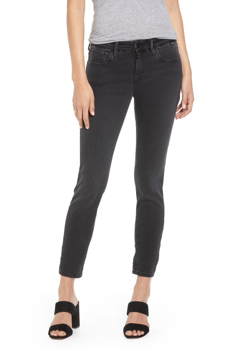 MAVI JEANS Alexa Mid Rise Skinny Jeans, Main, color, DARK SMOKE SUPERSOFT