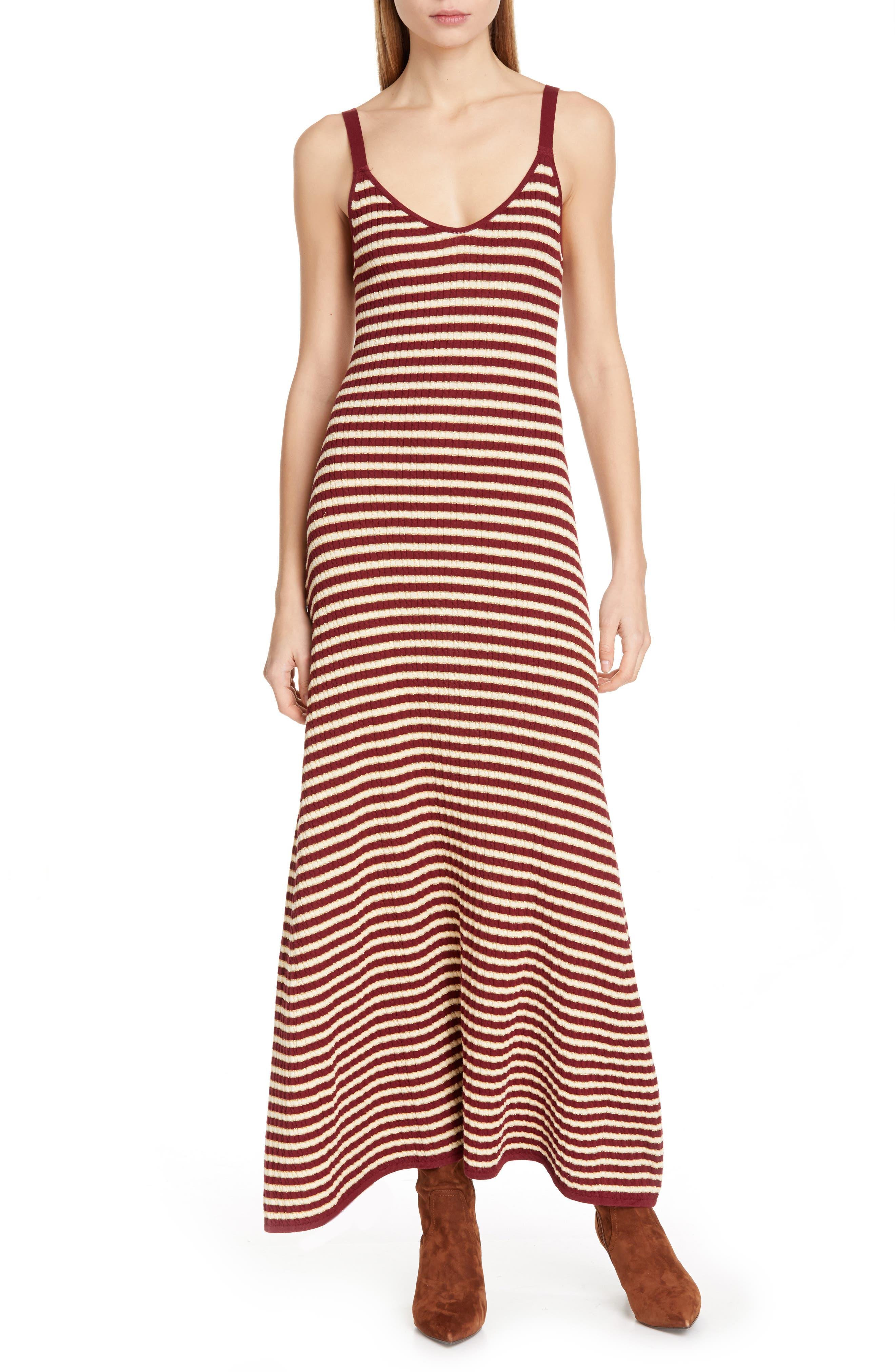 Tommy X Zendaya Stripe Tank Dress, Burgundy (Nordstrom Exclusive)