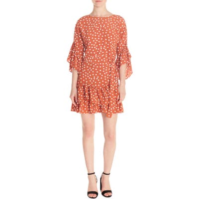 Maje Polka Dot Flounce Dress, Brown (Nordstrom Exclusive)