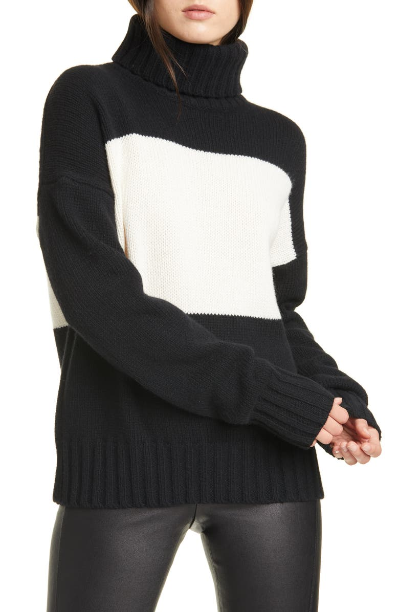 POLO RALPH LAUREN Colorblock Turtleneck Wool Sweater, Main, color, BLACK/ CREAM