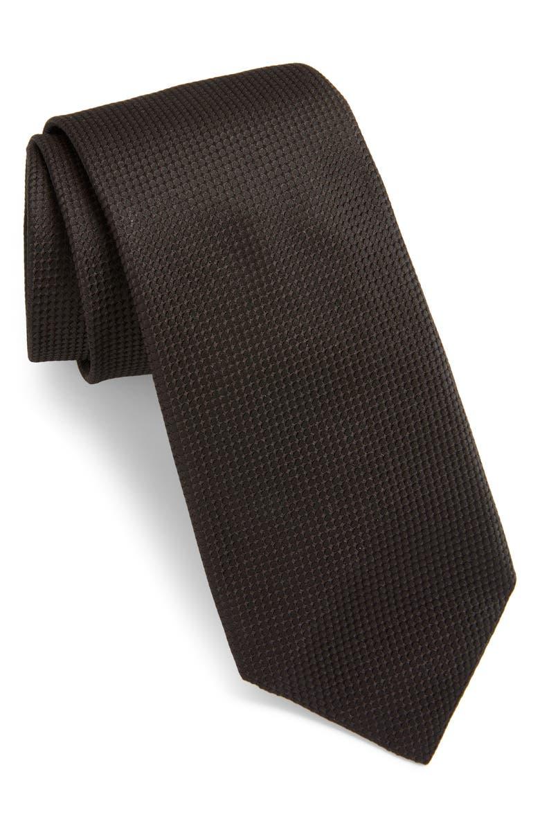 BOSS Solid Silk Tie, Main, color, BLACK