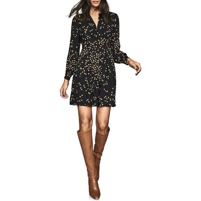 Reiss Arabella Spot Print Long Sleeve Fit & Flare Dress, US / 6 UK - Black