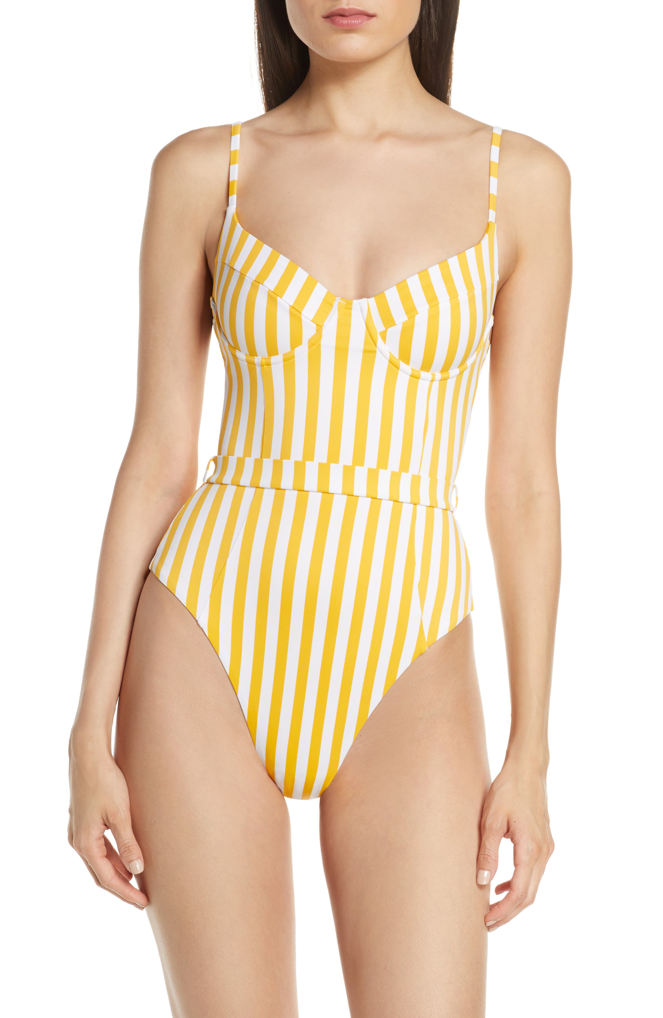 Onia X We Wore What Danielle One-Piece Swimsuit, Yellow