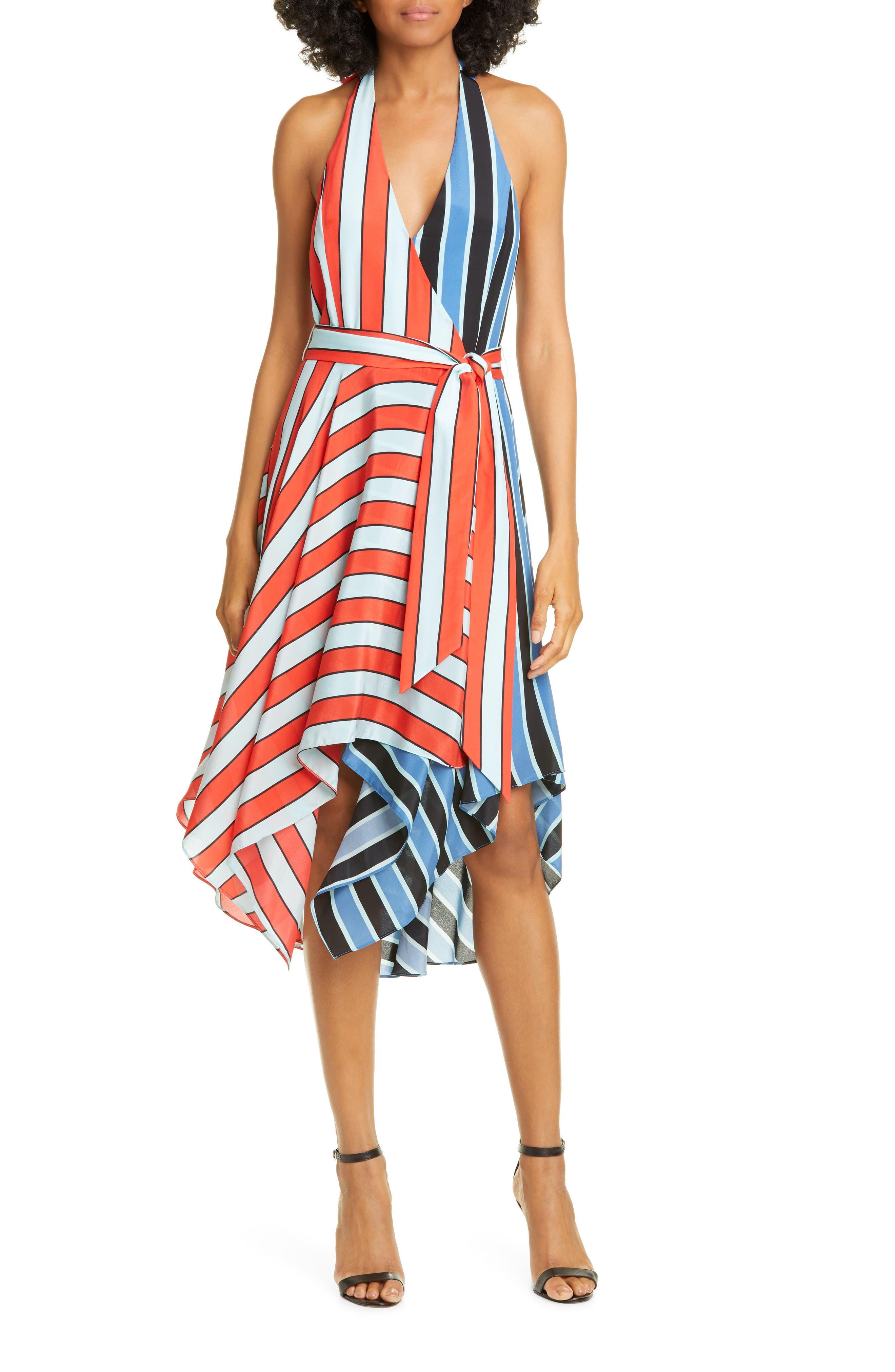Alice + Olivia Canton Mix Stripe Halter Neck Handkerchief Hem Silk Dress, Red