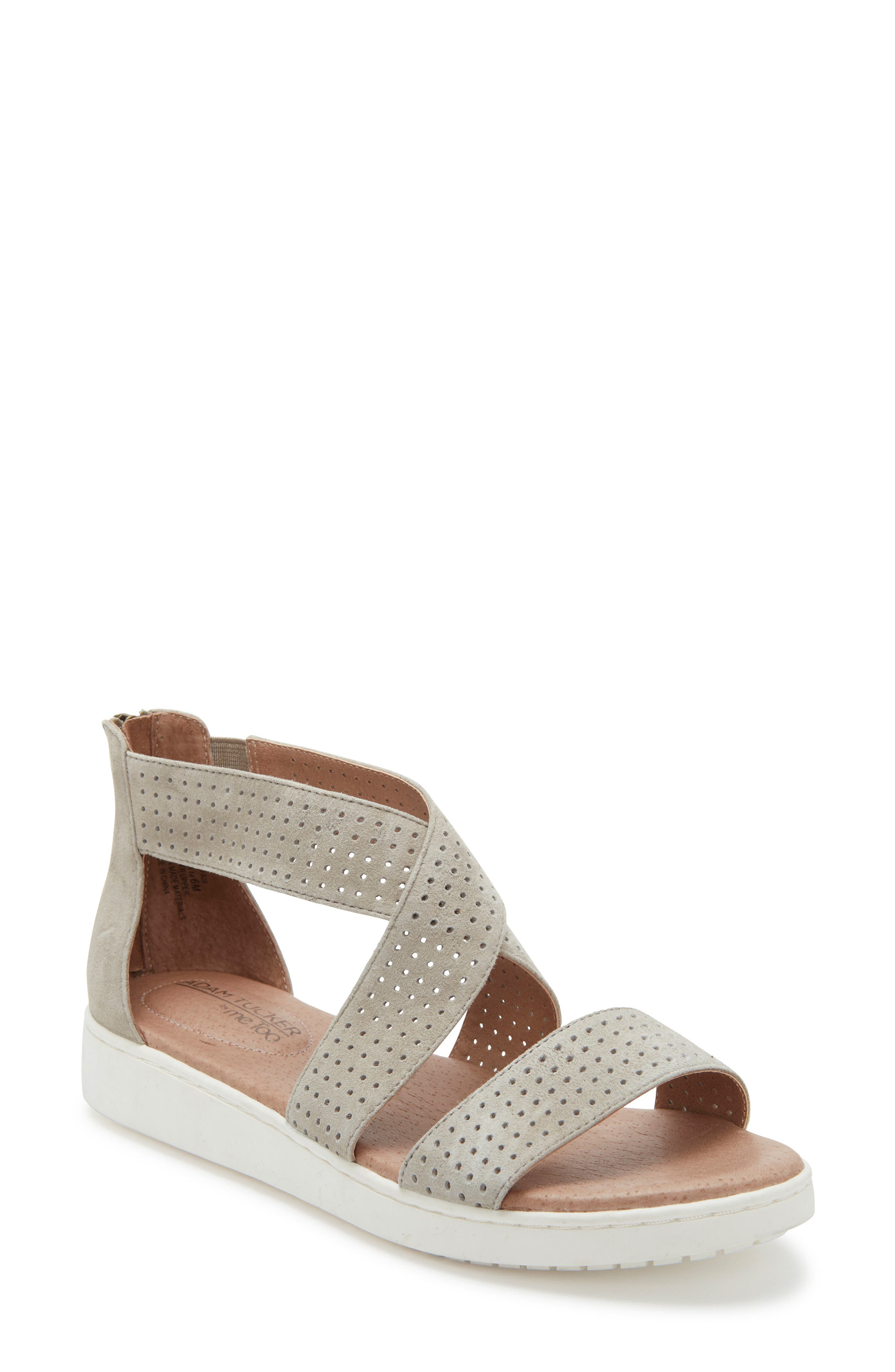 Adam Tucker Rayna Perforated Wedge Sandal- Grey