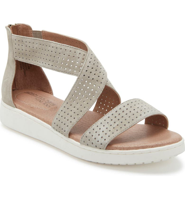 ADAM TUCKER BY ME TOO Adam Tucker Rayna Perforated Wedge Sandal, Main, color, STONE SUEDE