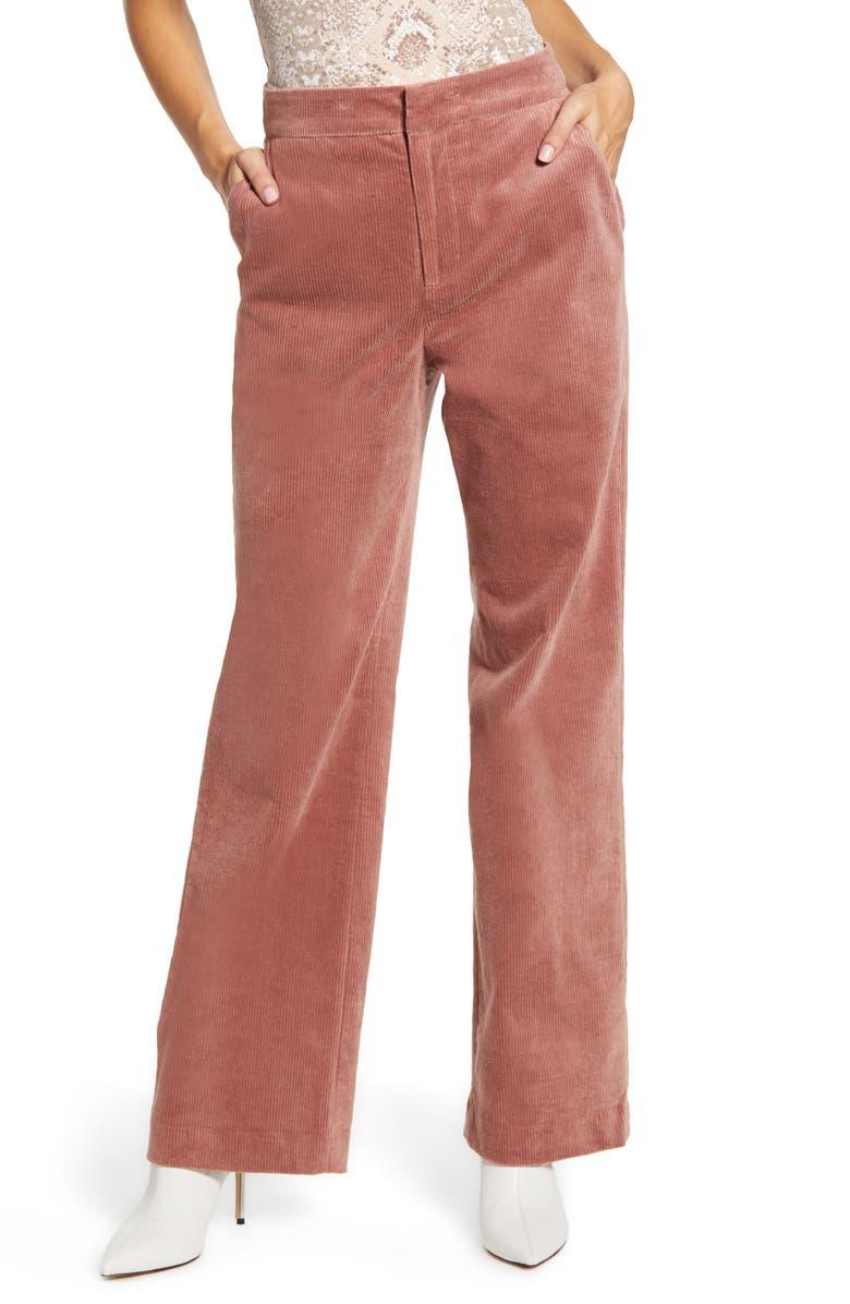 ENDLESS ROSE Corduroy Wide Leg Pants, Main, color, MAUVE