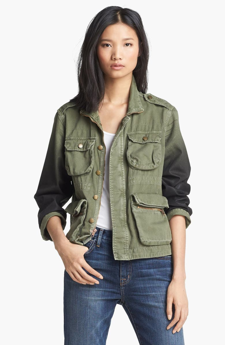 CURRENT/ELLIOTT 'The Lone Soldier' Coated Sleeve Jacket, Main, color, OMBRE COATED ARMY GREEN