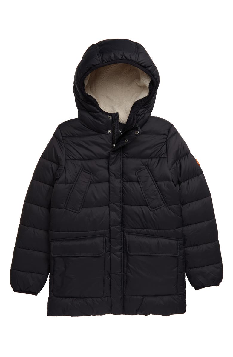 SAVE THE DUCK Quilted Water Resistant Hooded Coat, Main, color, BLACK