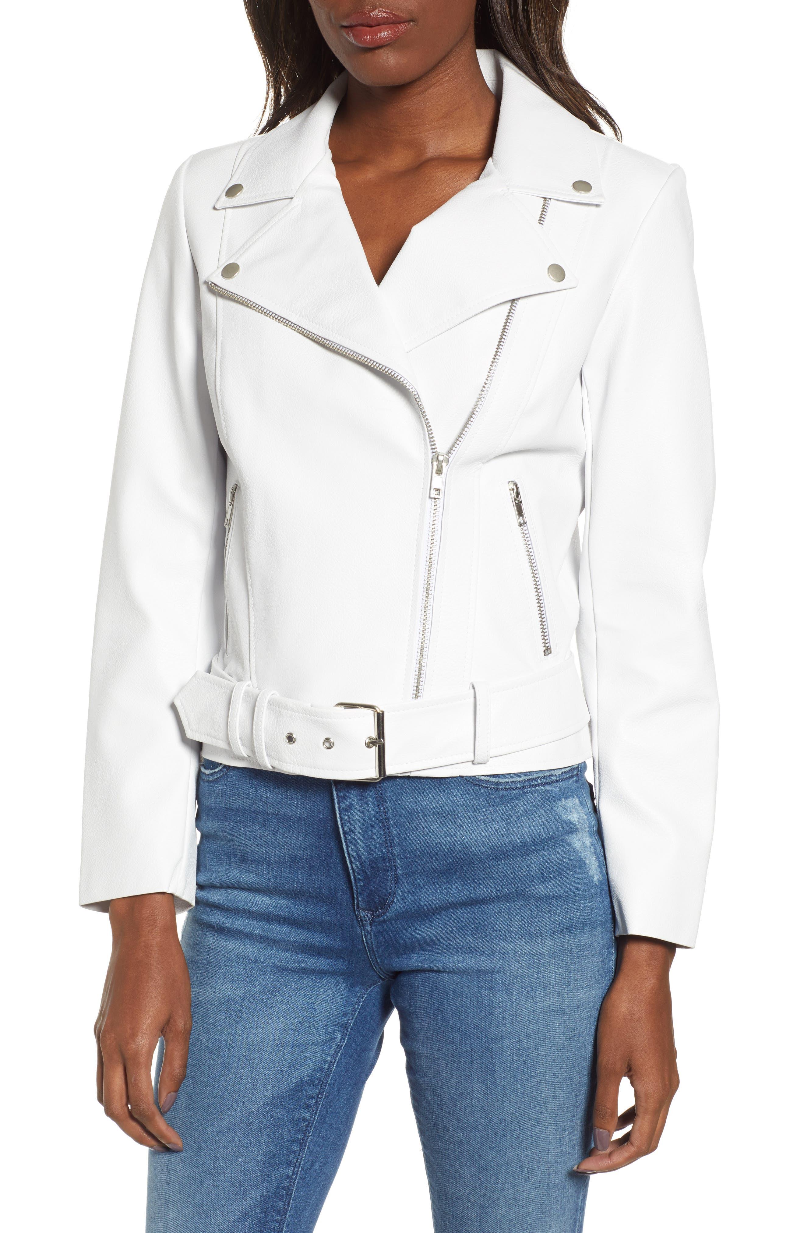 ,                             Guest List Faux Leather Moto Jacket,                             Alternate thumbnail 5, color,                             OPTIC WHITE