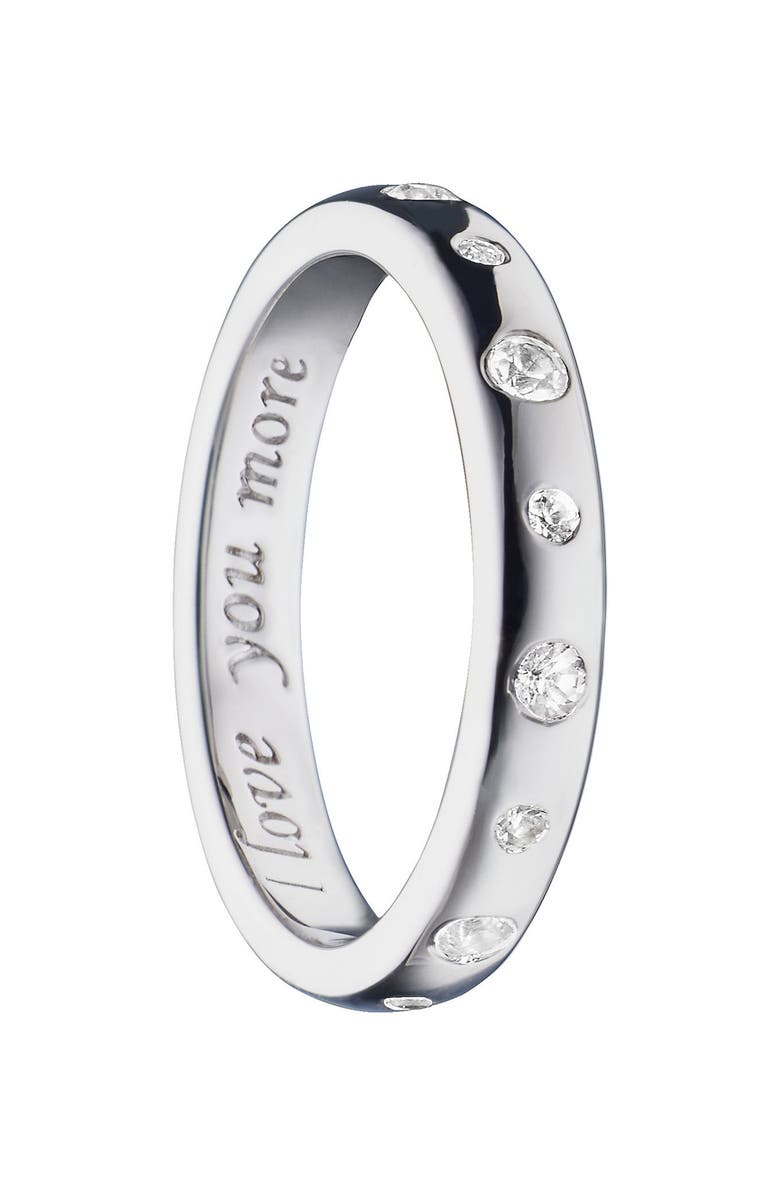 MONICA RICH KOSANN Love You More White Sapphire Poesy Ring Charm, Main, color, STERLING SILVER