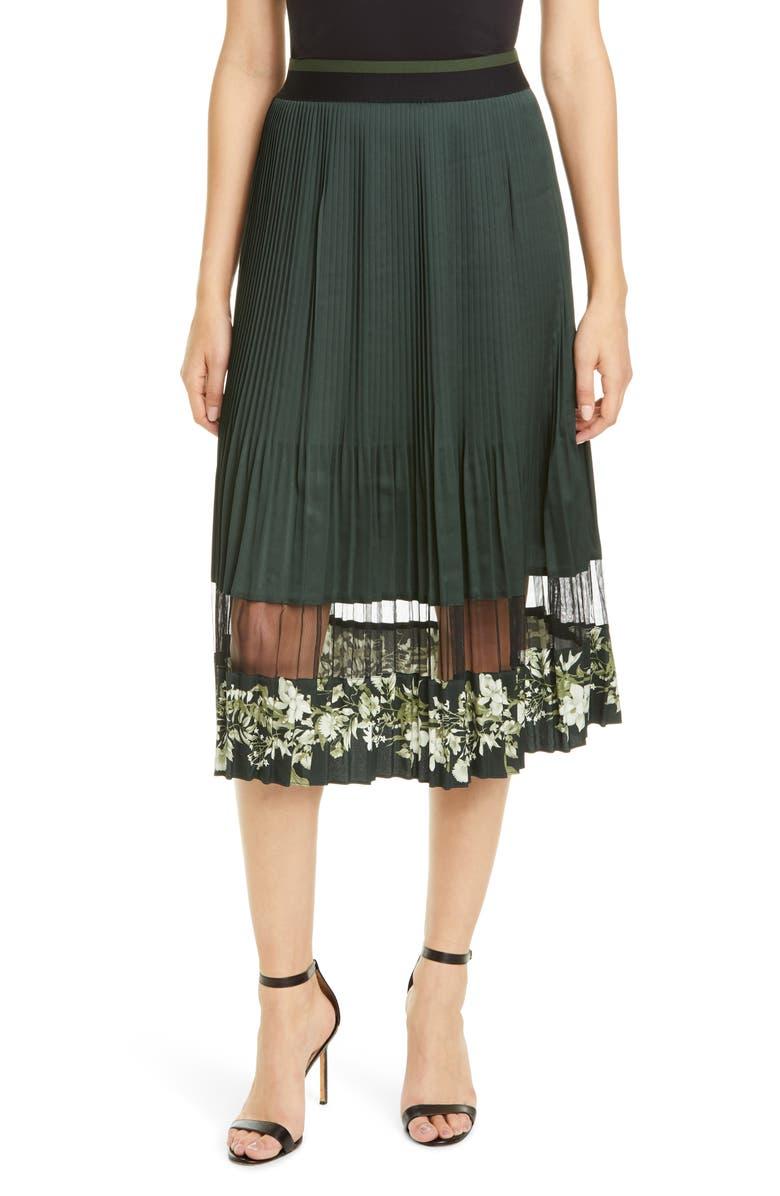 TED BAKER LONDON Bonilee Pleated Skirt, Main, color, KHAKI