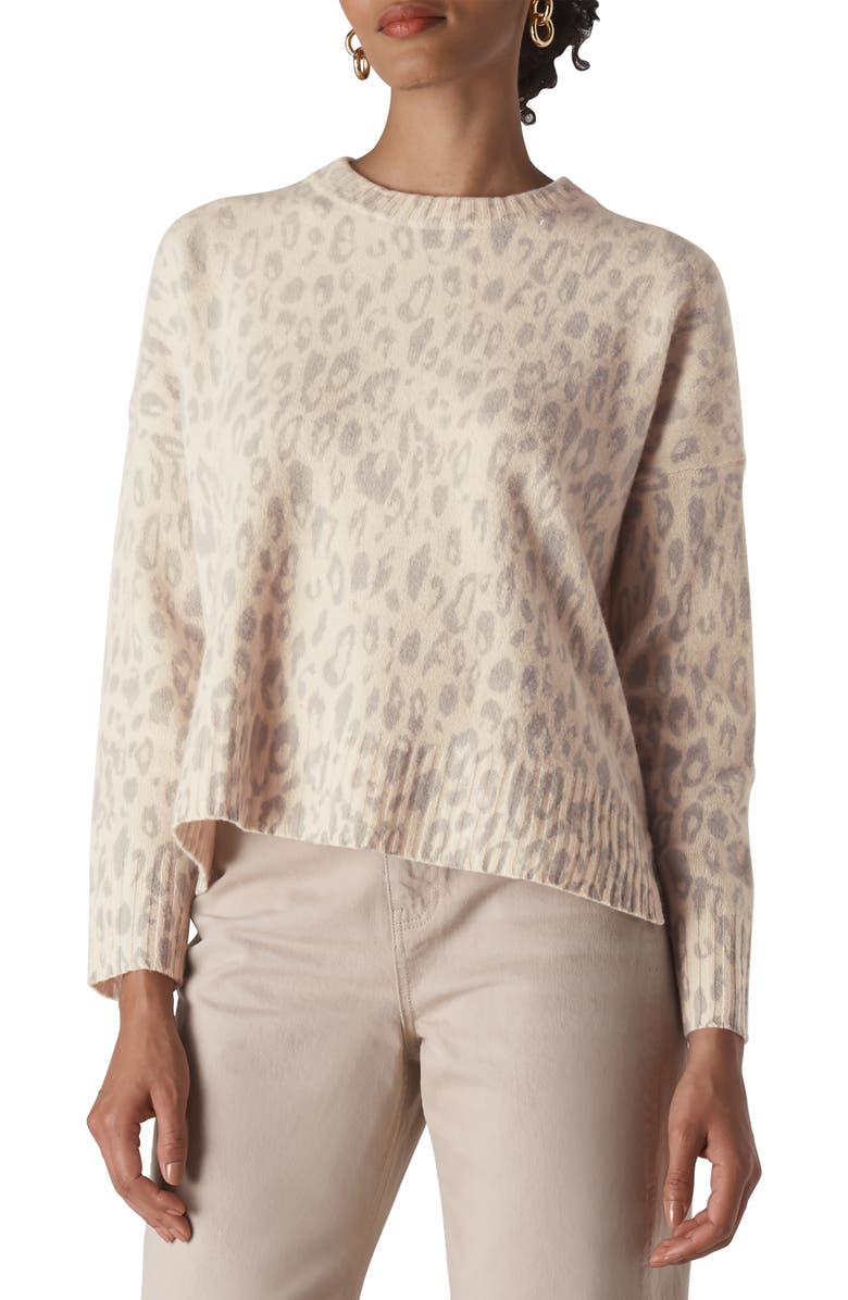 WHISTLES Freida Animal Pattern Merino Wool Sweater, Main, color, CREAM/MULT