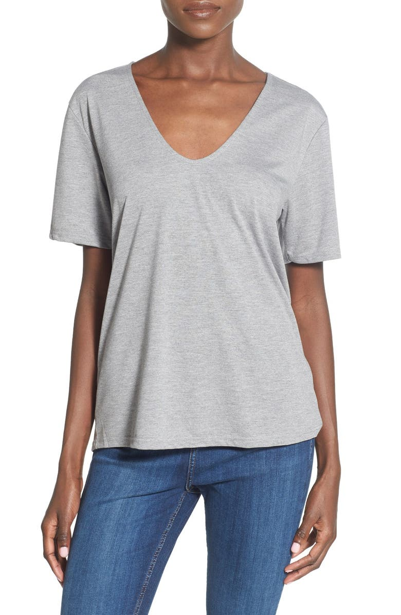 TOPSHOP V-Neck Tee, Main, color, 050