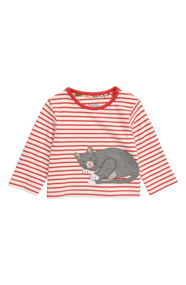 MINI BODEN Cat Appliqué Stripe Tee, Main, color, 614