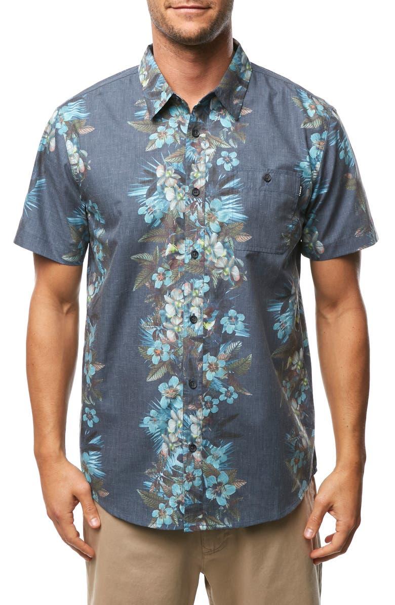 BILLABONG Maile Party Print Short Sleeve Button Up Sport Shirt, Main, color, DARK BLUE