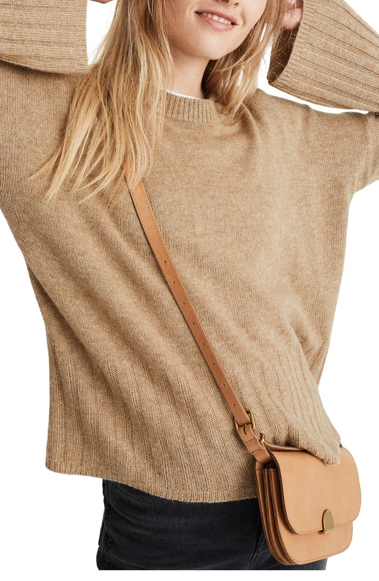 MADEWELL Ayres Wide Sleeve Pullover Sweater, Main, color, HEATHER SANDALWOOD
