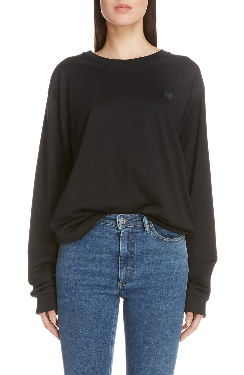 ACNE STUDIOS Elwood Face Tee, Main, color, BLACK