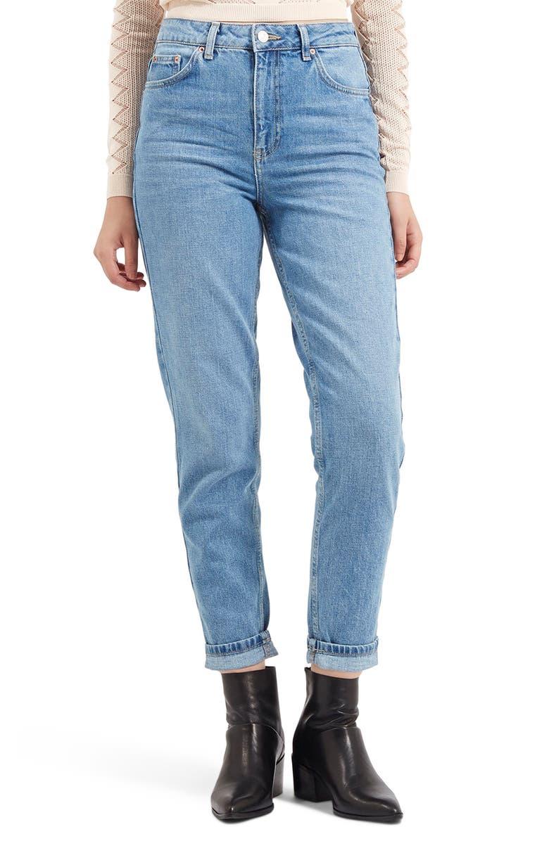 TOPSHOP High Waist Light Denim Mom Jeans, Main, color, 420