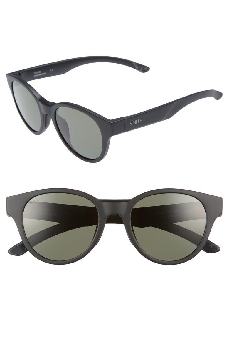 SMITH Snare 51mm Polarized Matte Round Sunglasses, Main, color, 001