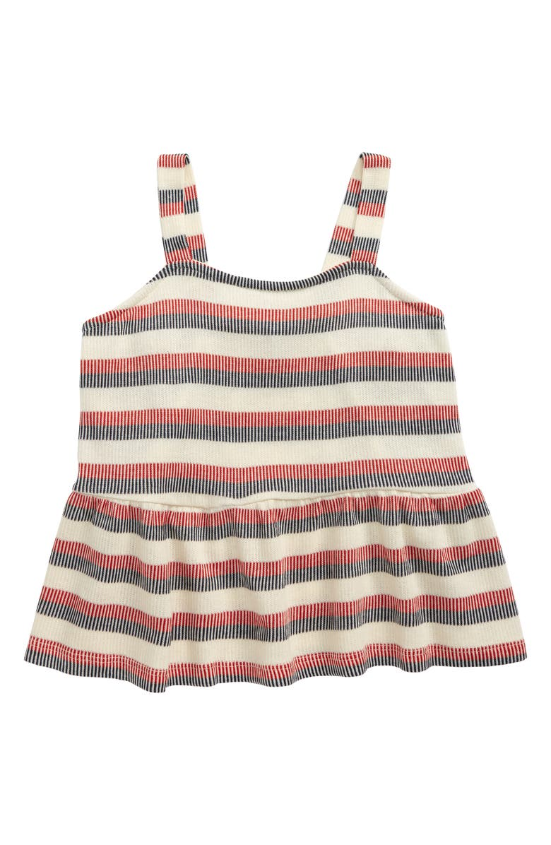 GOOD LUCK GIRL Americana Ruffle Tank, Main, color, CREAM/NAVY/RED