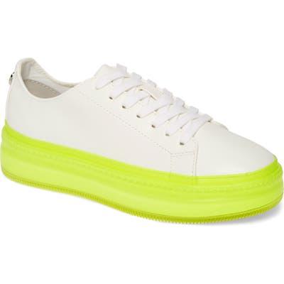 Steve Madden Neon Platform Sneaker, White