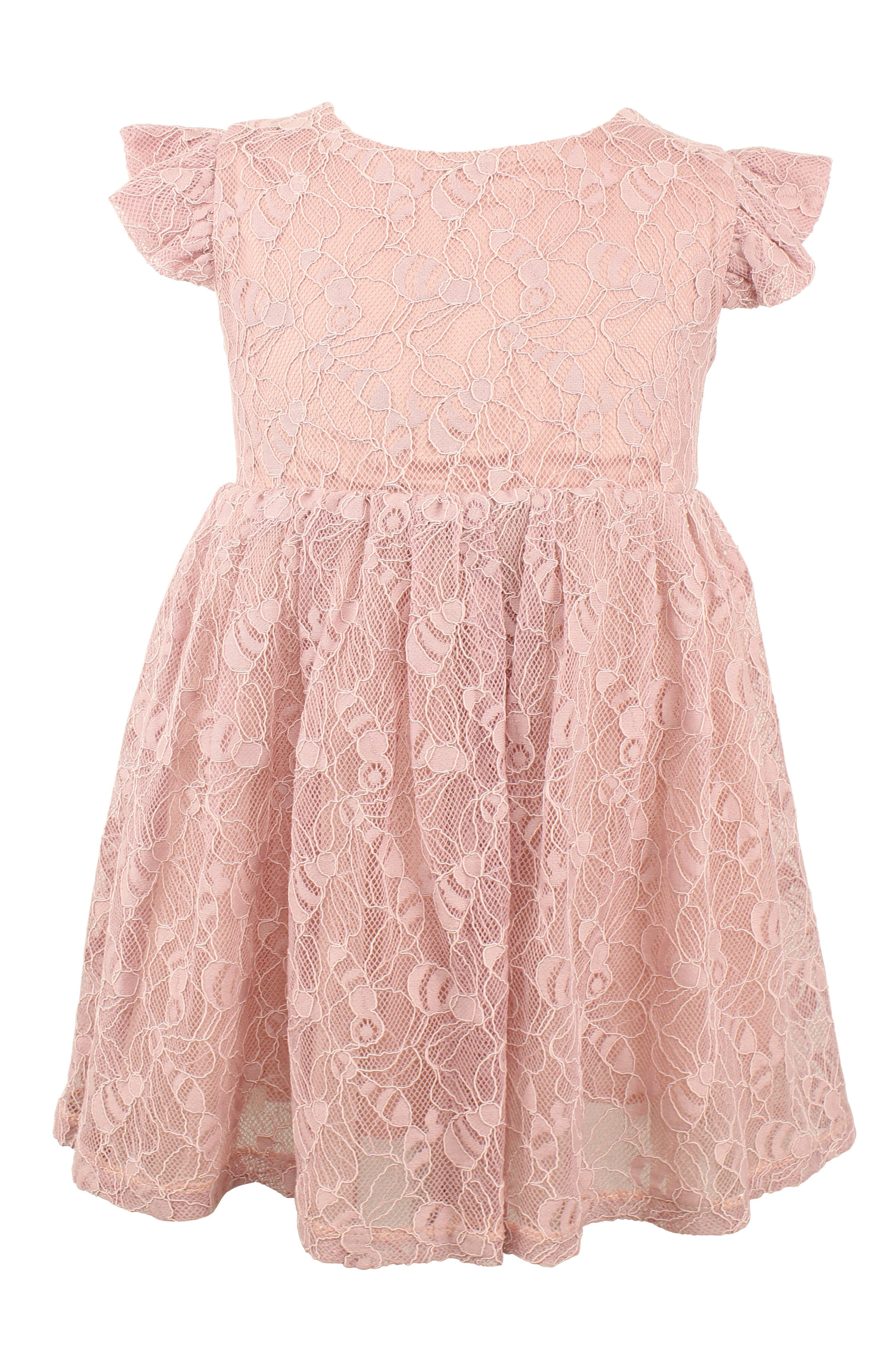 Victorian Kids Costumes & Shoes- Girls, Boys, Baby, Toddler Infant Girls Popatu Lace Overlay Flutter Dress $42.00 AT vintagedancer.com