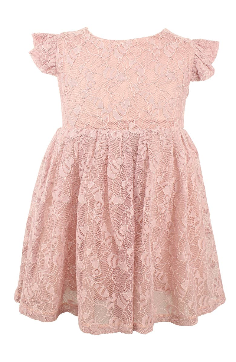 POPATU Lace Overlay Flutter Dress, Main, color, MAUVE