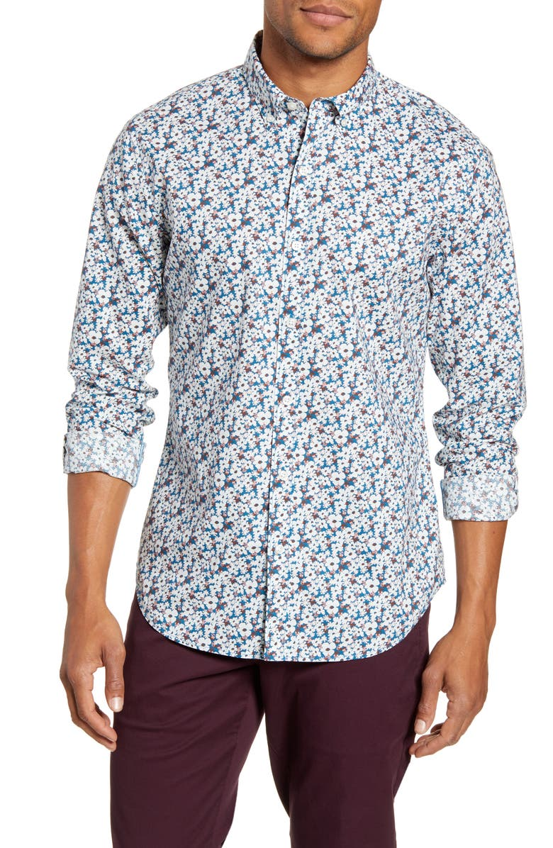 BONOBOS Summer Weight Slim Fit Floral Shirt, Main, color, LANAI FLORAL BLUE MACAW
