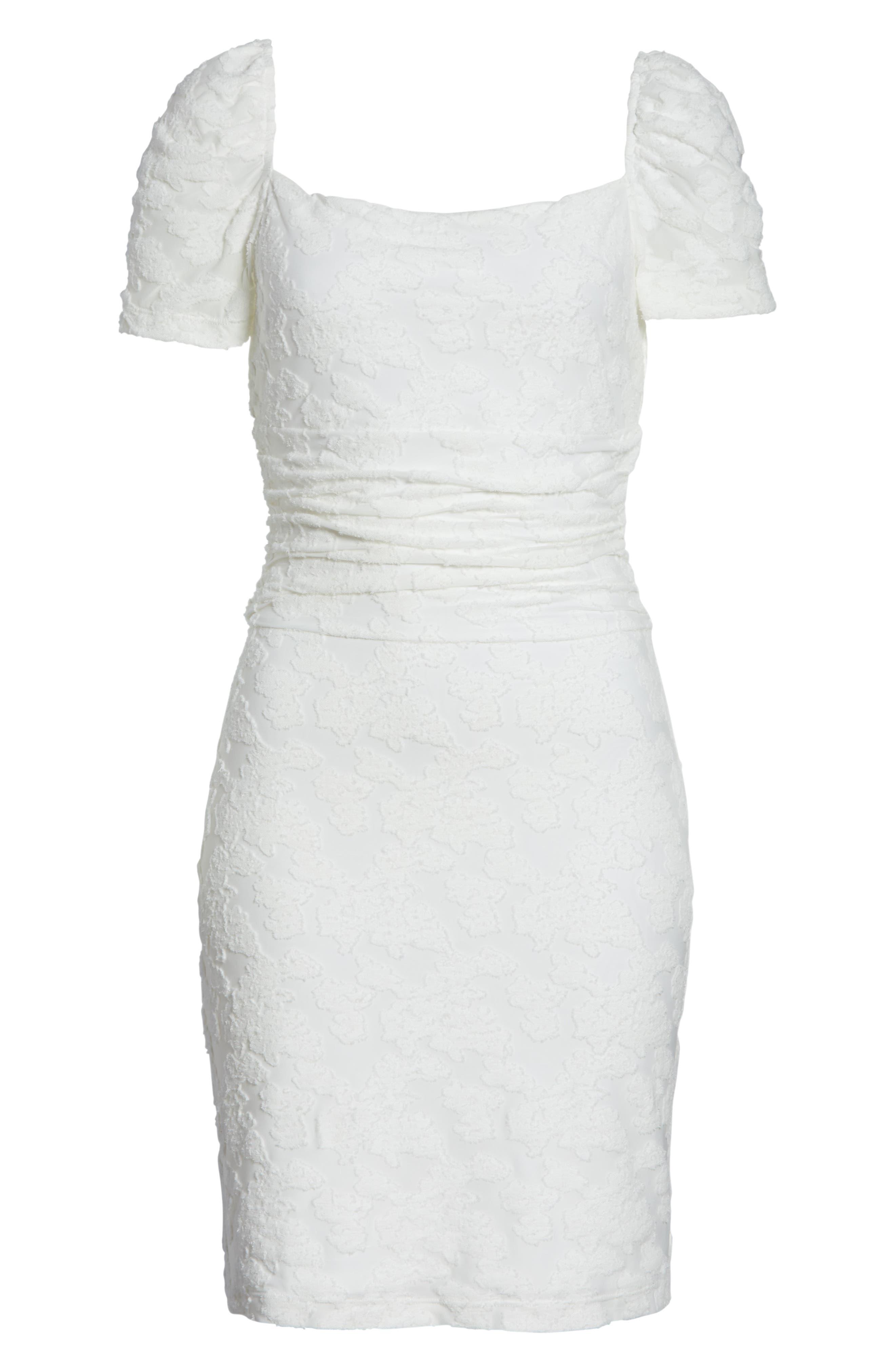 ,                             Big Mistake Short Sleeve Sheath Dress,                             Alternate thumbnail 7, color,                             WHITE FLORAL
