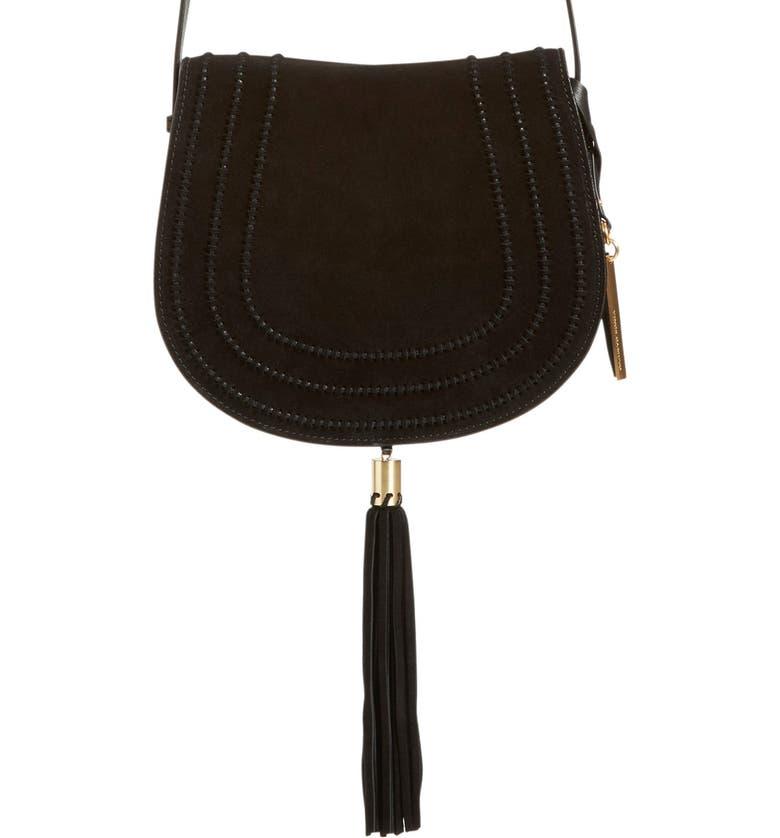 VINCE CAMUTO 'Izzi' Tassel Leather & Suede Crossbody Bag, Main, color, Black
