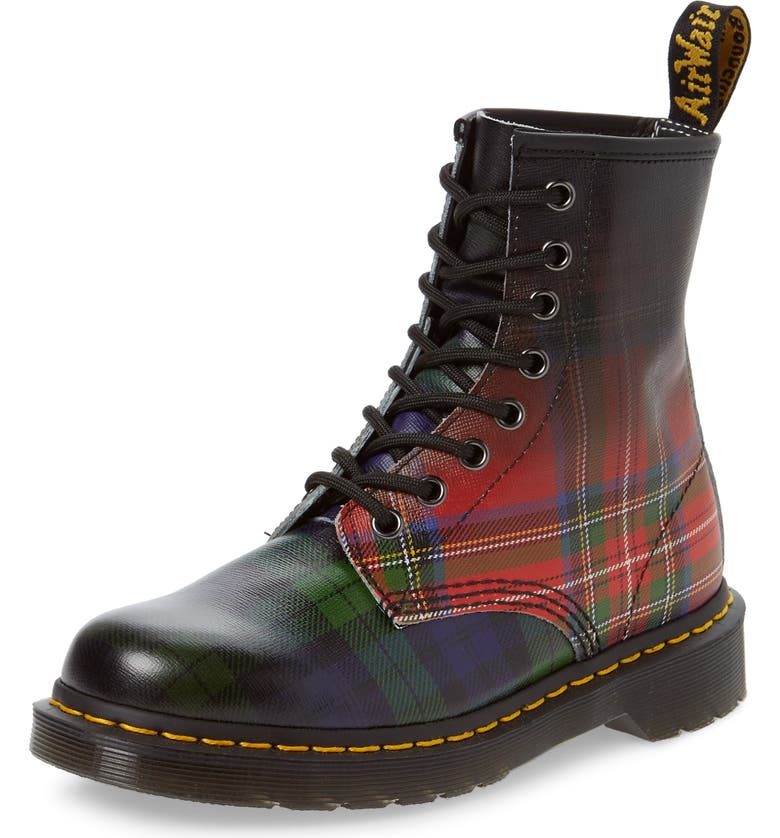 DR. MARTENS 1460 Tartan Plaid Boot, Main, color, 001