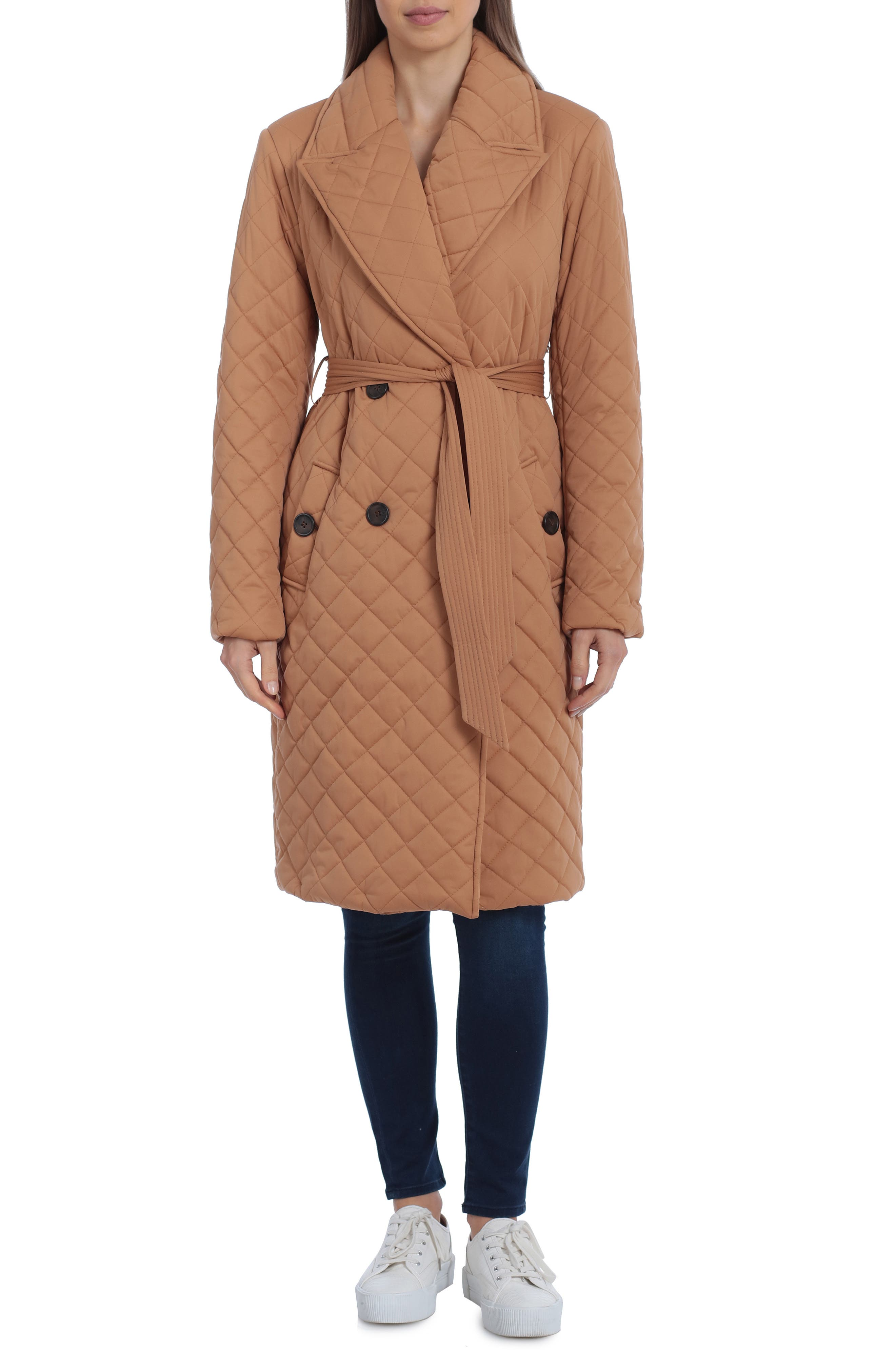 Water Resistant Quilted Double Breasted Trench Coat