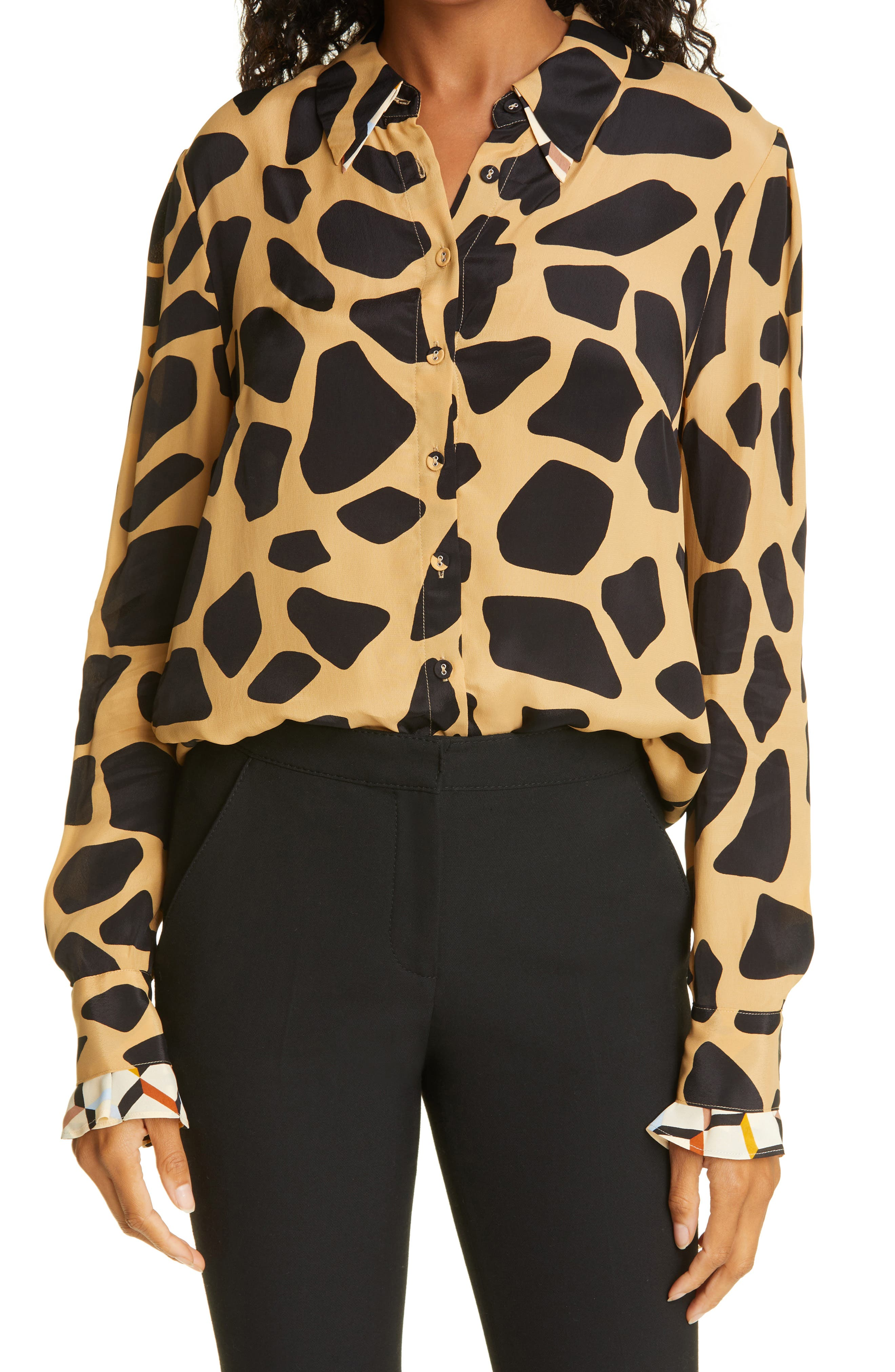 Joanna Top Two Geo Print Button-Up Blouse