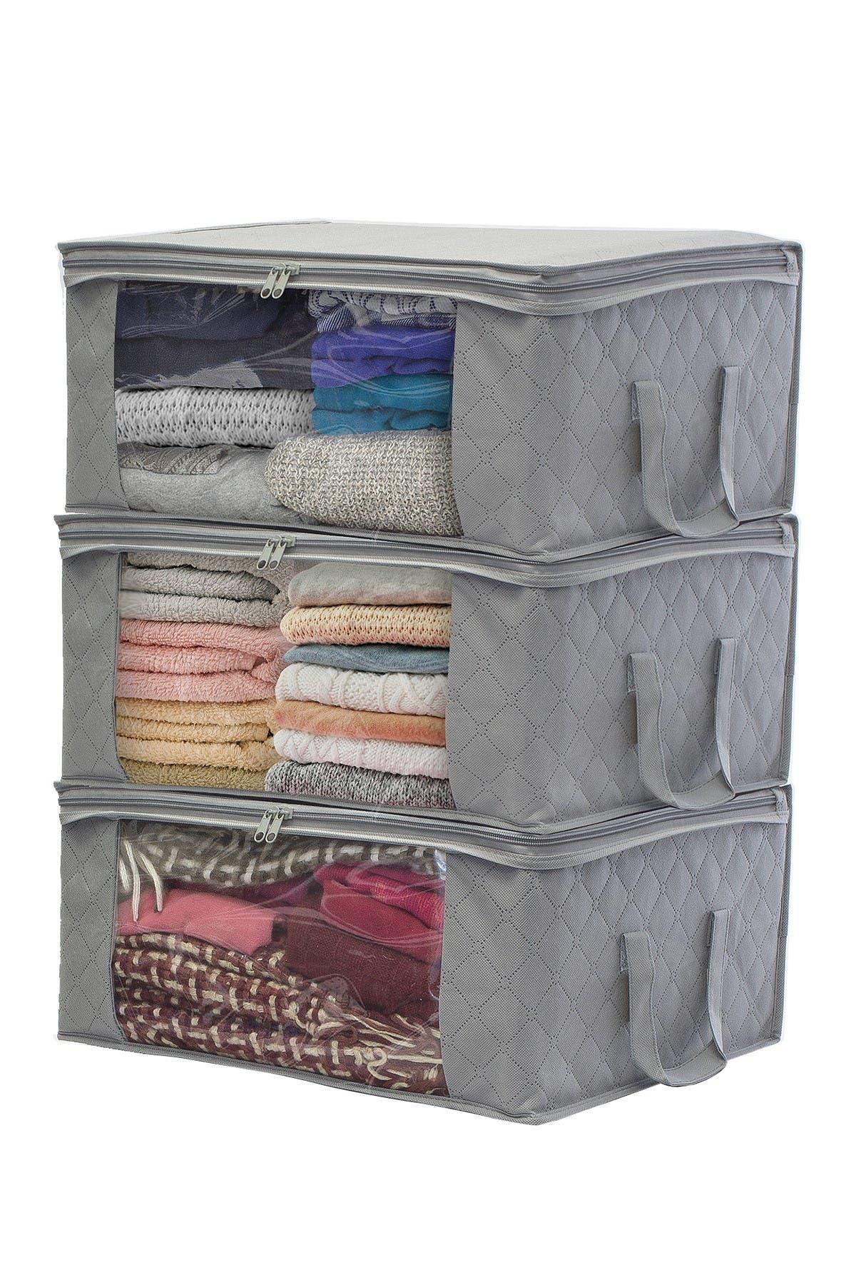 Image of Sorbus Foldable Fabric Storage Organizer Bag - Set of 3 - Grey
