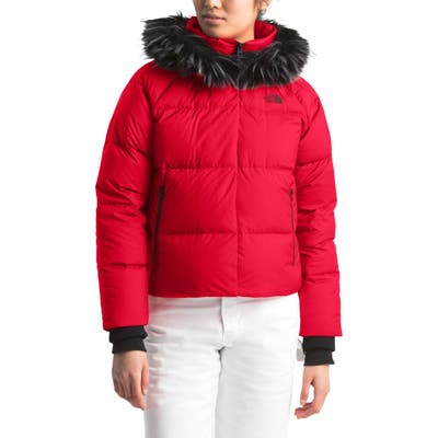 The North Face Dealio 550 Fill Power Crop Hooded Down Jacket, Red