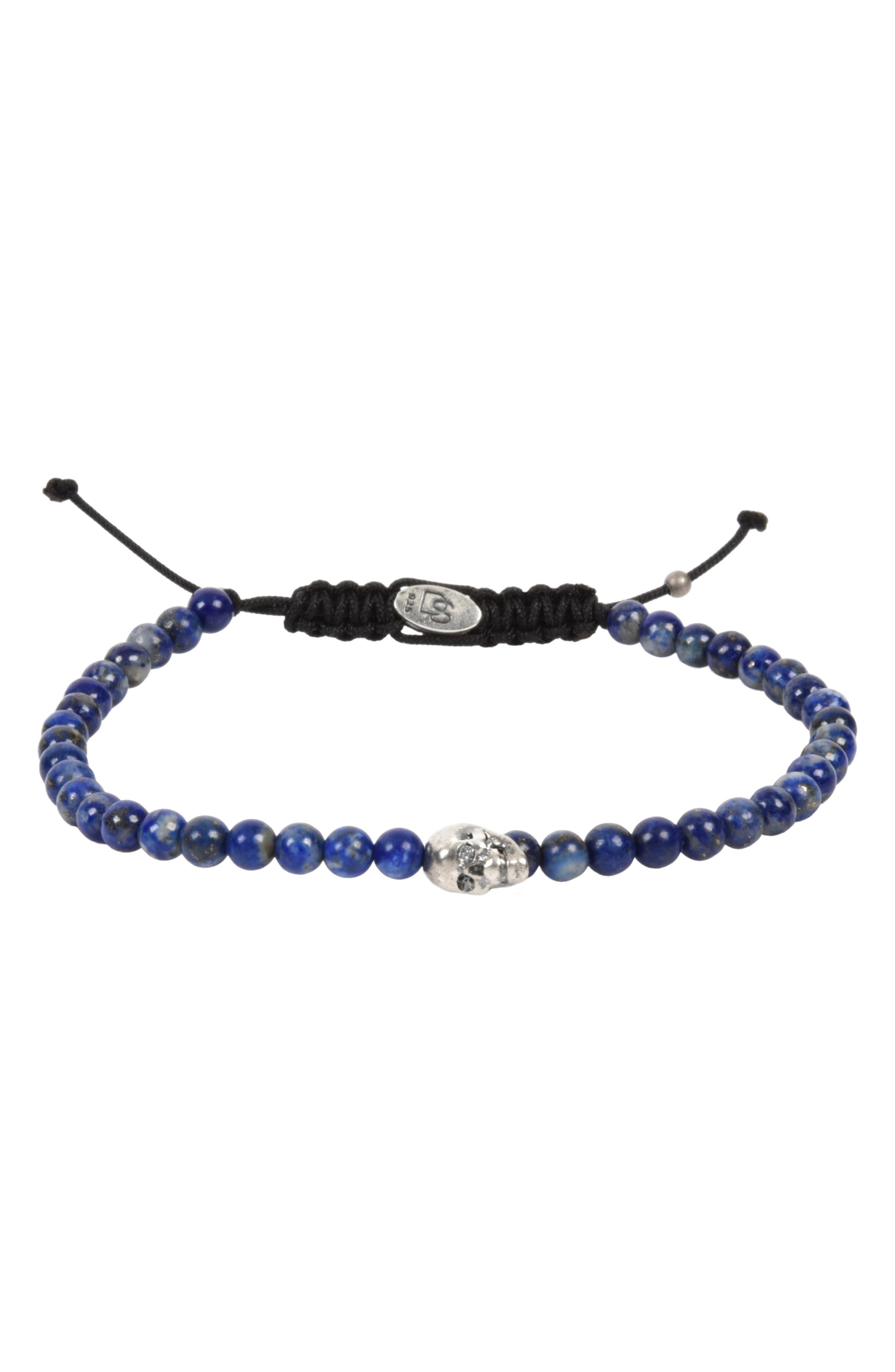 Stone Bead Skull Bracelet