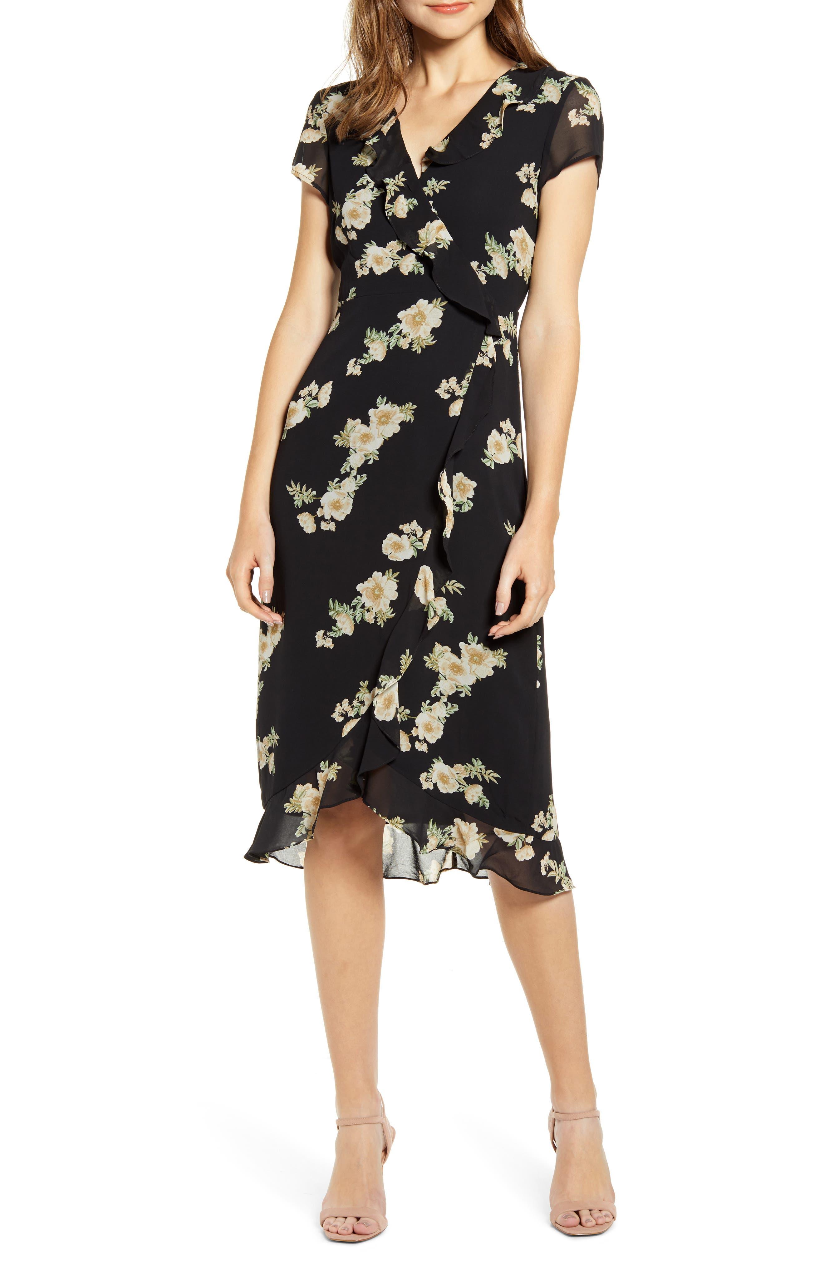 Bardot Floral Print Faux Wrap Chiffon Dress, Black