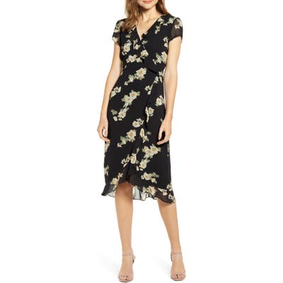 Bardot Floral Print Faux Wrap Chiffon Dress, Black