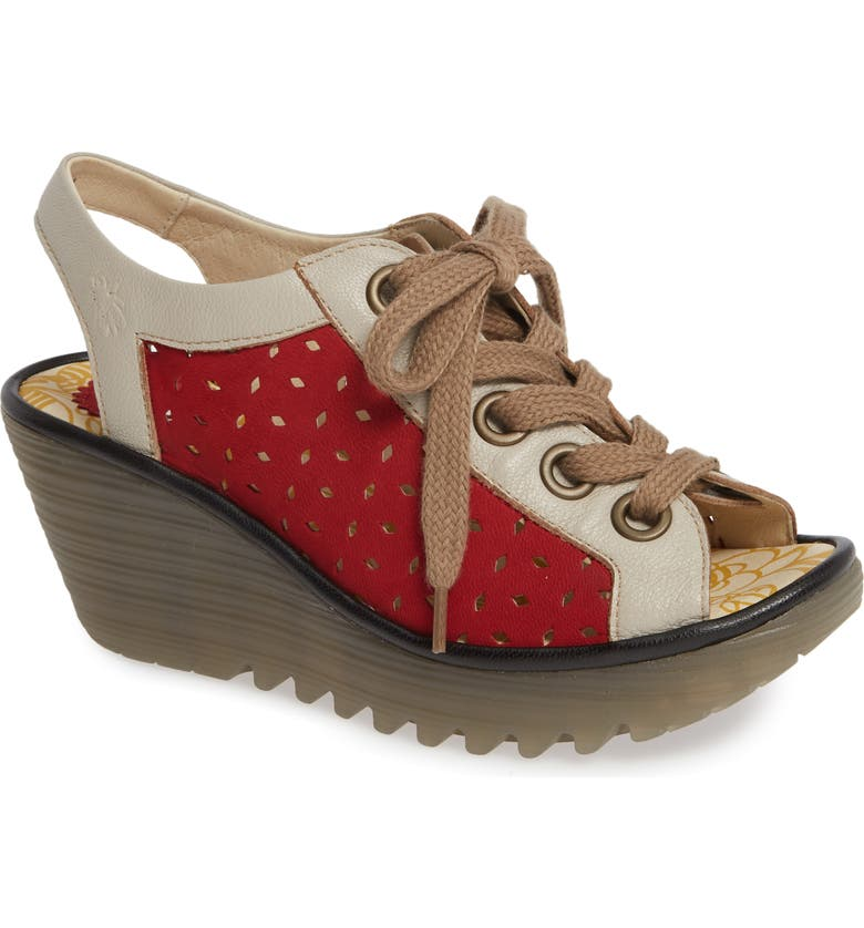 FLY LONDON Yorl Wedge Sandal, Main, color, LIPSTICK/ CONCRETE LEATHER