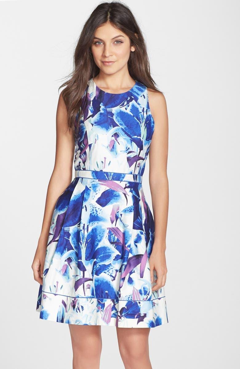 VINCE CAMUTO Floral Print Stretch Cotton Fit & Flare Dress, Main, color, 498