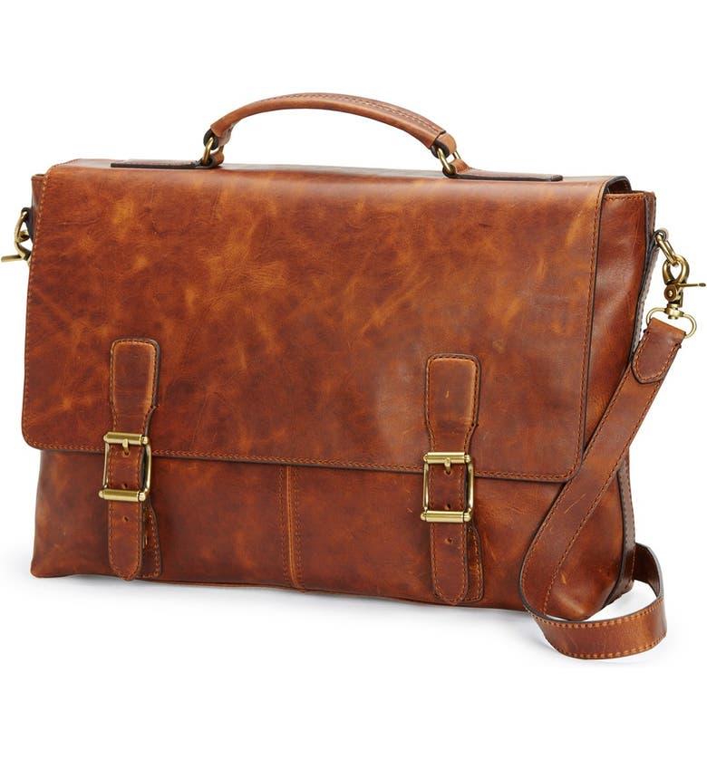 FRYE Logan Leather Briefcase, Main, color, COGNAC