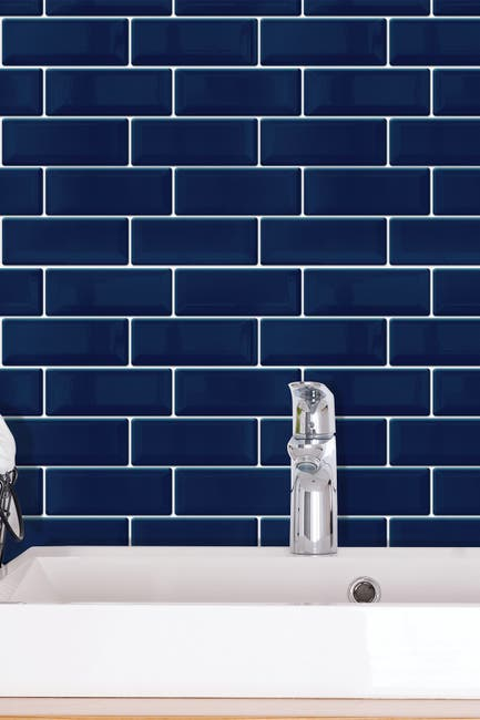 Image of WalPlus Deep Blue Glossy 3D Metro Sticker Tiles Contemporary Wall Splashbacks Mosaics