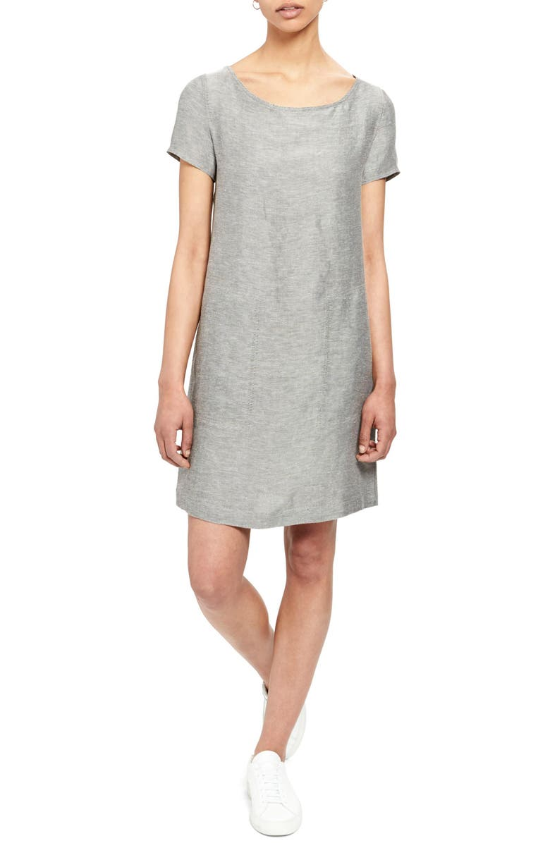 THEORY Linen Blend Shift Dress, Main, color, BLACK/ WHITE