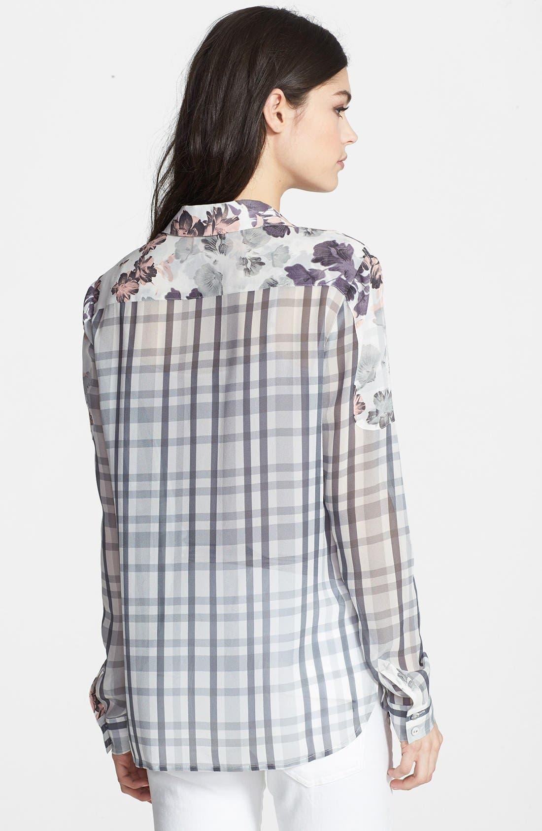 ,                             Denim 'Audrey' Mixed Print Silk Shirt,                             Alternate thumbnail 2, color,                             020