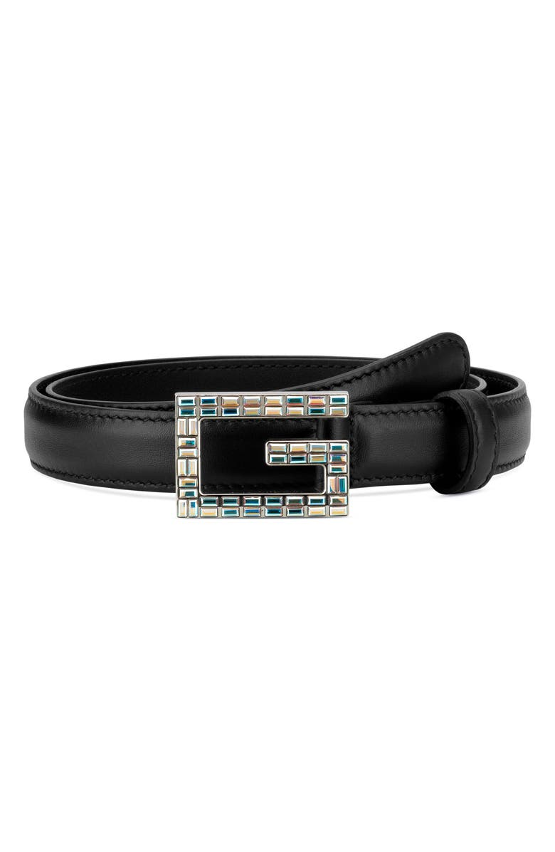GUCCI Madelyn Crystal Logo Buckle Leather Belt, Main, color, 001