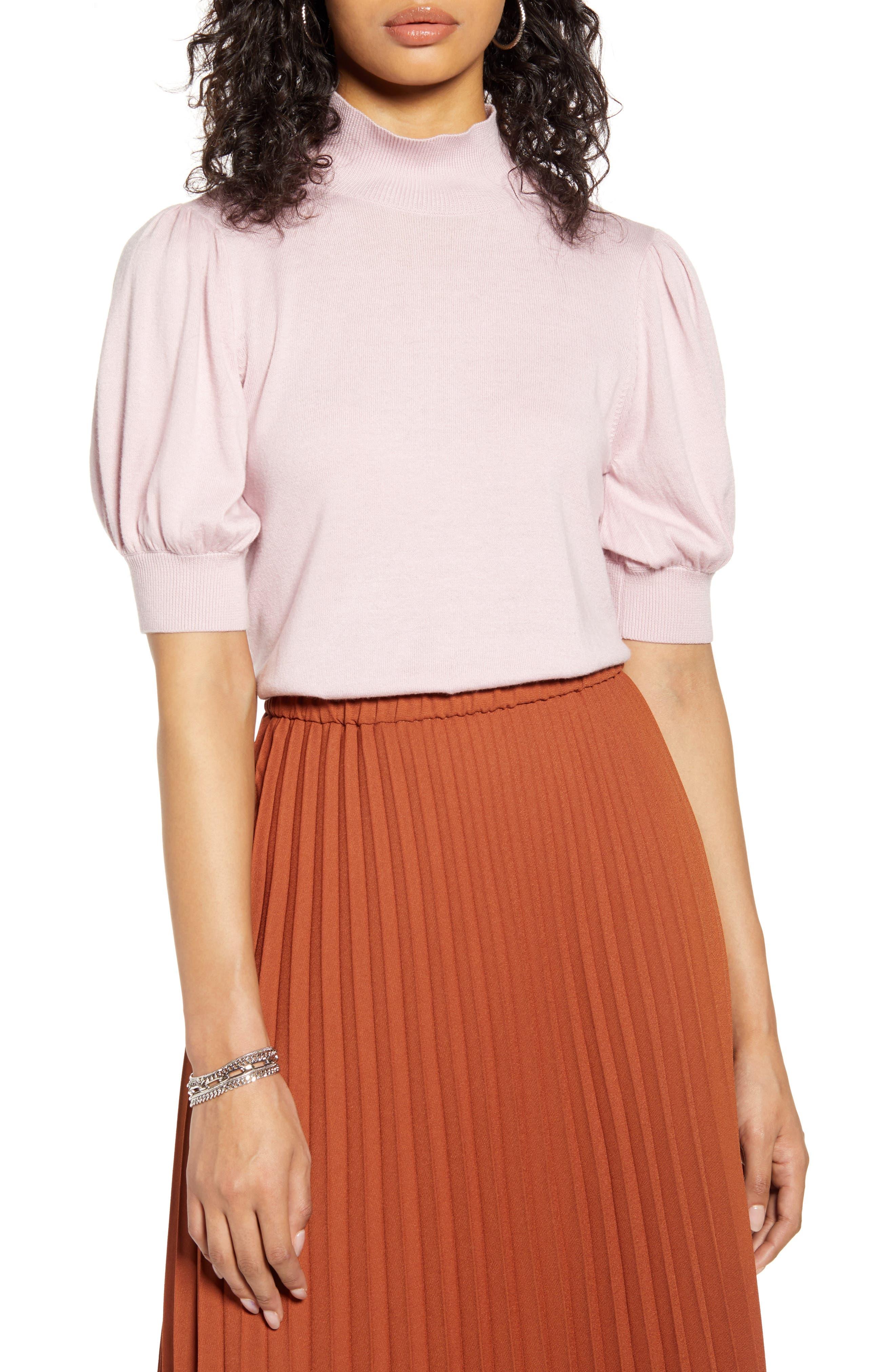 Vintage Tops & Retro Shirts, Halter Tops, Blouses Womens Halogen Mock Neck Puff Shoulder Sweater Size X-Large - Purple $41.40 AT vintagedancer.com
