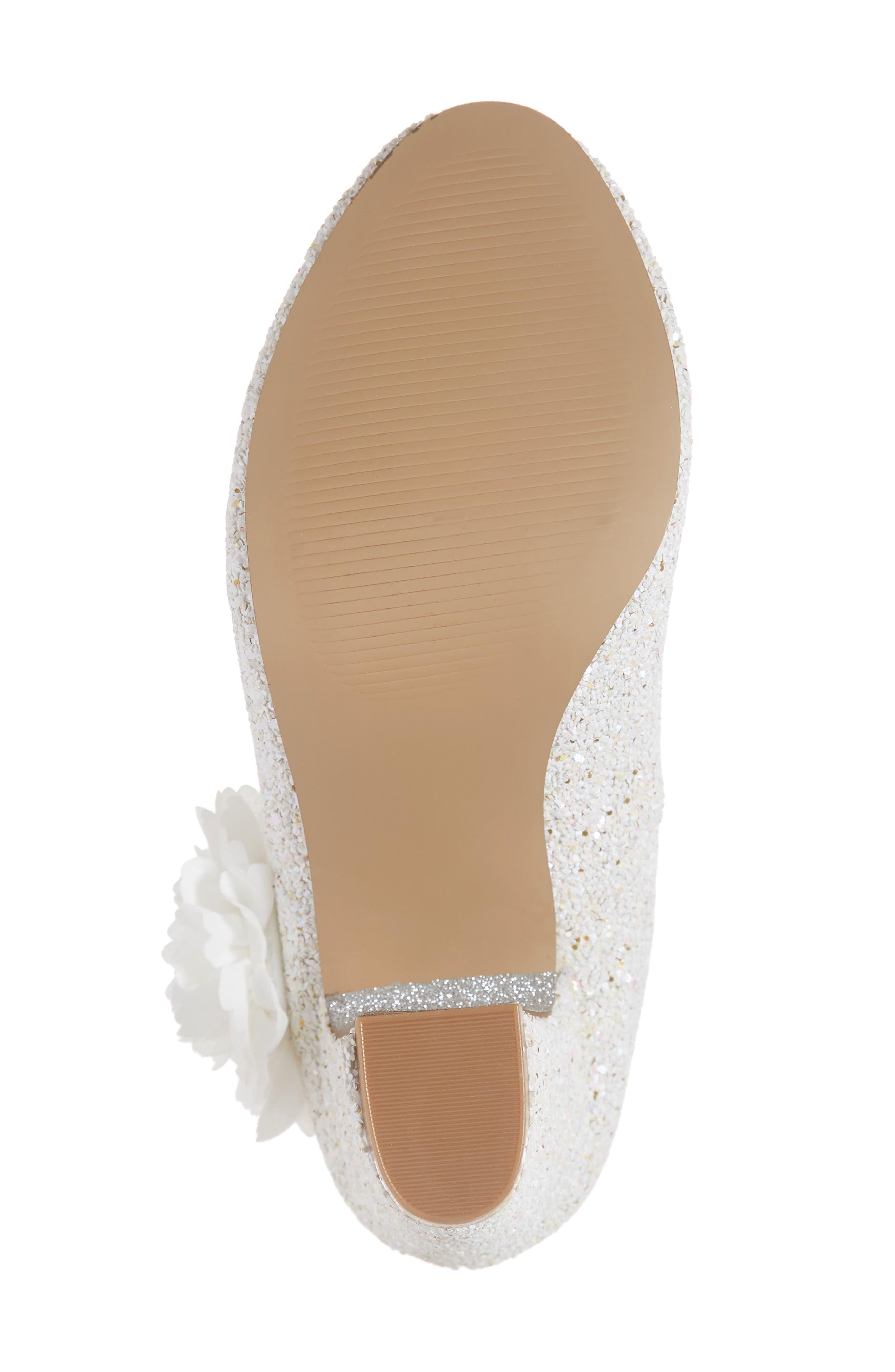,                             Badgley Mischka Kylie Flower Glitter Pump,                             Alternate thumbnail 6, color,                             WHITE IRIDESCENT GLITTER